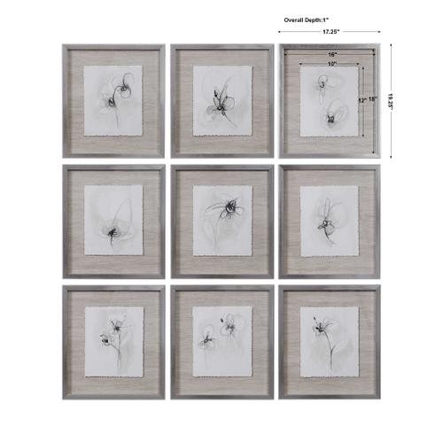 Neutral Floral Gestures Framed Prints, S/9