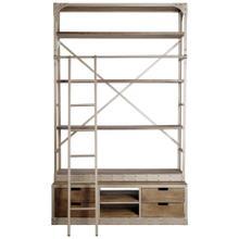 Brodie VI 57L x 20.5W x 94H Light Brown Wood Nickle Ladder Four Shelf Shelving Unit
