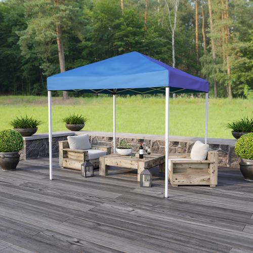 Flash Furniture - 8'x8' Blue Outdoor Pop Up Event Slanted Leg Canopy Tent with Carry Bag