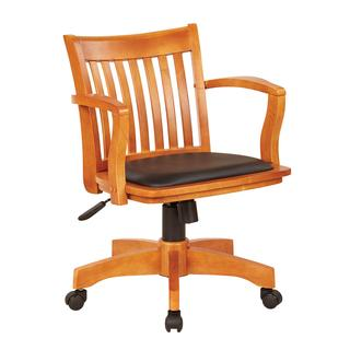 See Details - Deluxe Wood Banker's Chair With Vinyl Padded Seat In Fruit Wood Finish With Black Vinyl