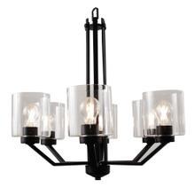 Paris 6-Light Chandelier- Matte Black Finish- Clear Cylinder Glass