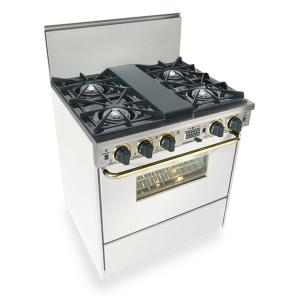 """30"""" Dual Fuel, Convect, Self Clean, Open Burners, White with Brass"""
