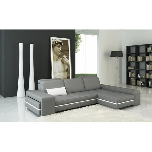 Divani Casa 5070B Modern Grey and White Bonded Leather Sectional Sofa