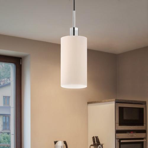 Sonneman - A Way of Light - Glass Pendant [Size=1-Light, Color/Finish=Polished Chrome Finish w/Black Cord, Shape=Cylinder]