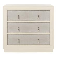 Lupita 3 Drawer Chest - Antique Beige / Light Grey Linen / Nickel