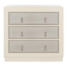 Lupita 3 Drawer Chest - Antique Beige / Light Grey Linen / Nickel