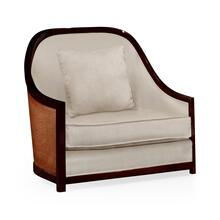 "44"" Sonokelling & Brown Rattan Sofa Chair, Upholstered in MAZO"