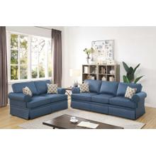 Martina 2pc Loveseat & Sofa Set, Blue-glossy