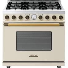 View Product - Range DECO 36'' Classic Cream matte, Bronze 6 gas, electric oven, self-clean