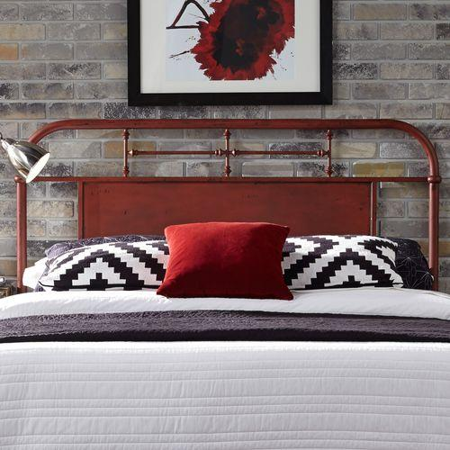 Queen Metal Headboard - Red