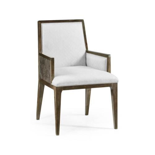 Gatsby Dark Grey Walnut & Random Cut Pattern Dining Arm Chair, Upholstered in COM