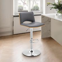View Product - Thierry Adjustable Swivel Gray Faux Leather with Walnut Back and Chrome Bar Stool