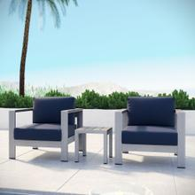 Shore 3 Piece Outdoor Patio Aluminum Set in Silver Navy
