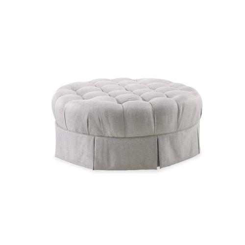 Ava Grey Round Tufted Top Ottoman with Kick Pleat Skirt