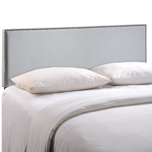 Region Nailhead Full Upholstered Headboard in Sky Gray