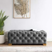Sensible Button Tufted Performance Velvet Bench in Gray