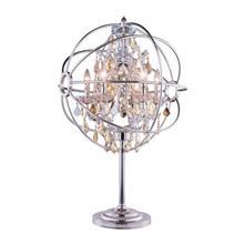 See Details - Geneva 6 light Polished nickel Table Lamp Golden Teak (Smoky) Royal Cut crystal