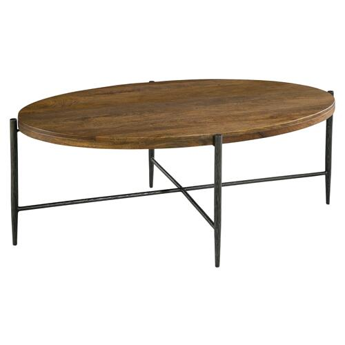 Bedford Park Metal & Wood Oval Coffee Table