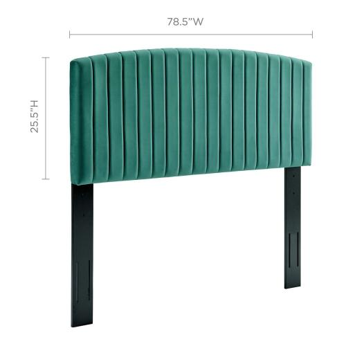 Rebecca Performance Velvet King / California King Headboard in Teal