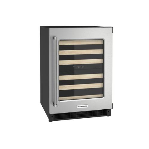 """KitchenAid Canada - 24"""" Undercounter Wine Cellar with Glass Door and Wood-Front Racks - Black Cabinet/Stainless Doors"""