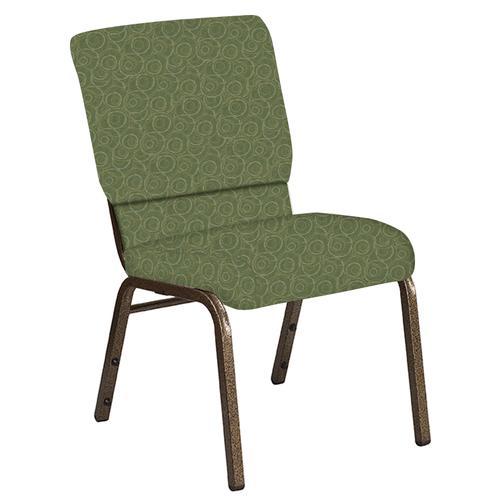 Flash Furniture - 18.5''W Church Chair in Martini Olive Fabric - Gold Vein Frame