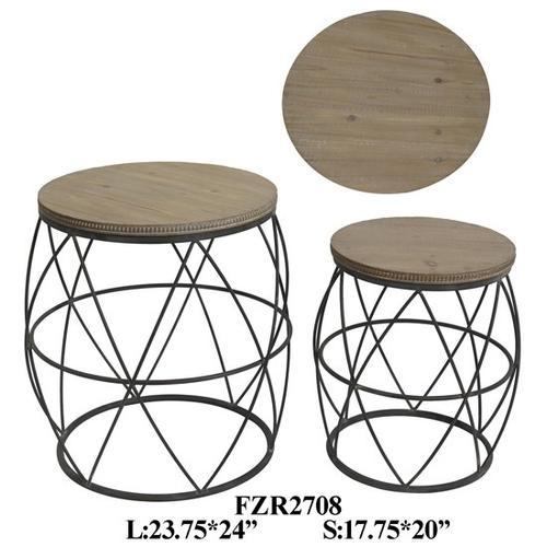 Product Image - METAL STOOL W/ WOOD TOP, SET OF 2, 23.75X23.75X24, 1PK 9.55'