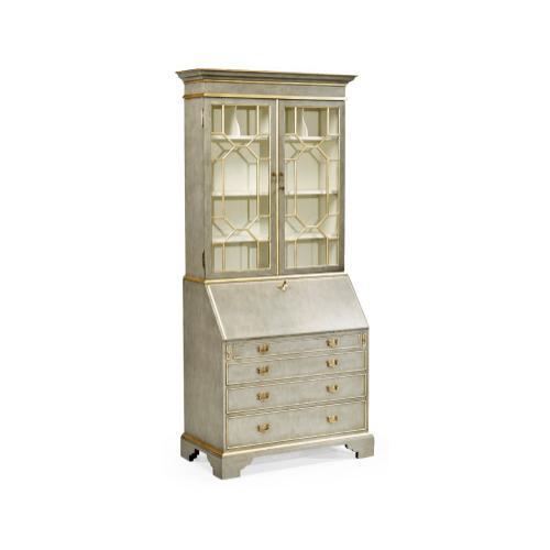 Georgian Style Grey & Gilded Escritoire Cabinet