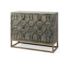 Genevieve I 39L x 16W Gray Wood And Metal Base 3 Drawer Accent Cabinet