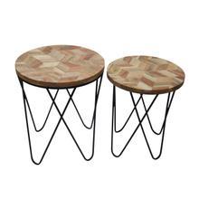 "S/2 Metal/wood 19/21"" Side Tables, Natural/black"