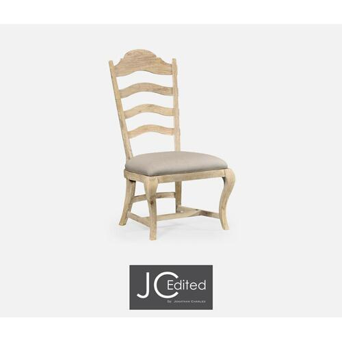 Limed acacia dining side chair