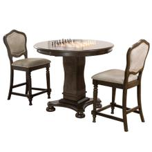 """See Details - Vegas Counter Height Dining, Chess and Poker Table Set 42"""" - Distressed Gray Wood (3 Piece)"""