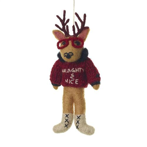 "7.75"" Grey E+E Sweater Ornament (Frankie Stag Option)"
