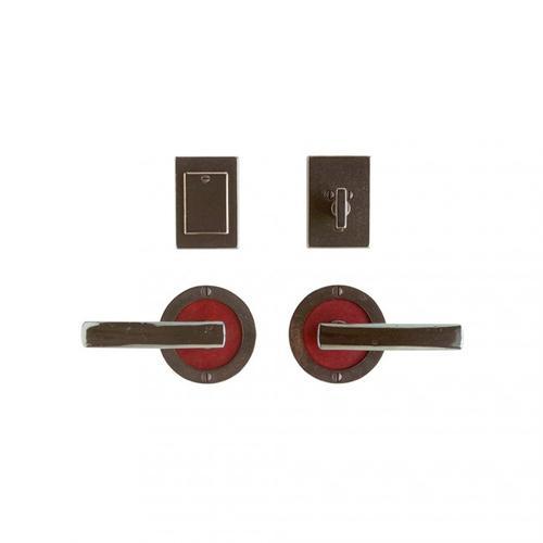 """Rocky Mountain Hardware - Round Designer Entry Set - 3 1/2"""" White Bronze Dark with Hazel Leather"""