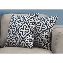 "PILLOW - 18""X 18"" / DARK BLUE MOTIF DESIGN / 2PCS"