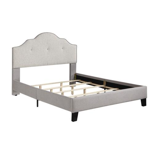 Complete Upholstered Bed-6/0 Cal King-headboard-footboard-siderails-cream#ks4703c-2