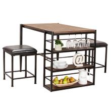 See Details - Counter Height Pub Table Set - Rustic Elm Industrial (3 Piece)