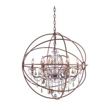 Geneva 6 light Rustic Intent Chandelier Golden Teak (Smoky) Royal Cut crystal