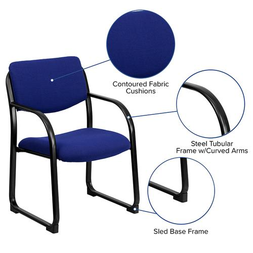 Gallery - Navy Fabric Executive Side Reception Chair with Sled Base