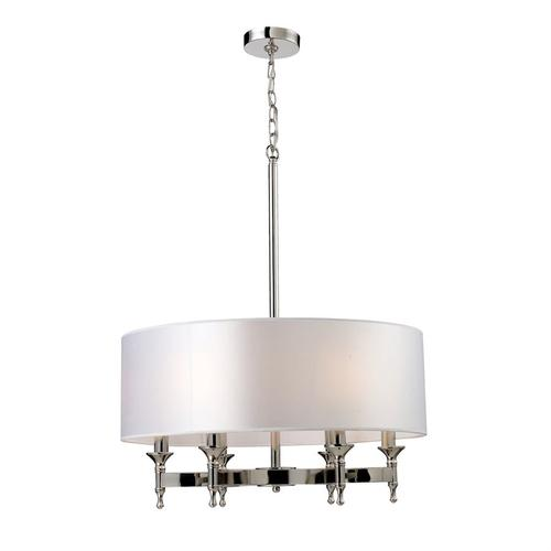 Pembroke 6-Light Chandelier in Polished Nickel with White Fabric Shade