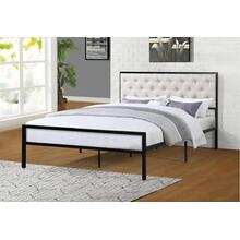 7577 BEIGE Headboard Metal Platform Bed - FULL