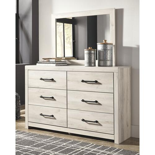 King Panel Bed With 4 Storage Drawers With Mirrored Dresser