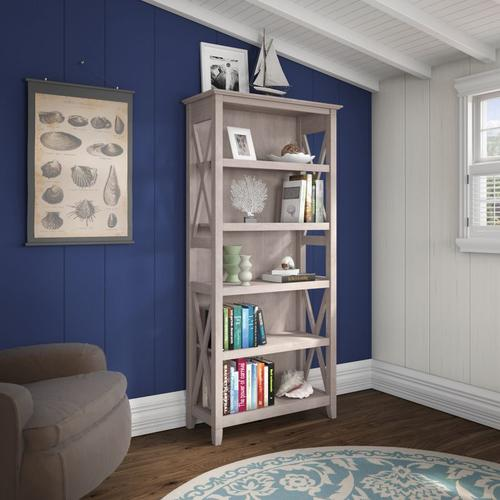 Key West Tall 5 Shelf Bookcase - Washed Gray