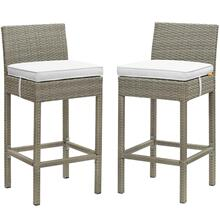 Conduit Bar Stool Outdoor Patio Wicker Rattan Set of 2 in Light Gray White