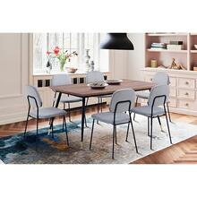 Messina and Lucy Grey Velvet and Walnut 5 Piece Dining Set