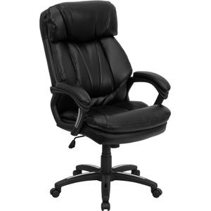 Gallery - High Back Black LeatherSoft Executive Swivel Ergonomic Office Chair with Plush Headrest, Extensive Padding and Arms
