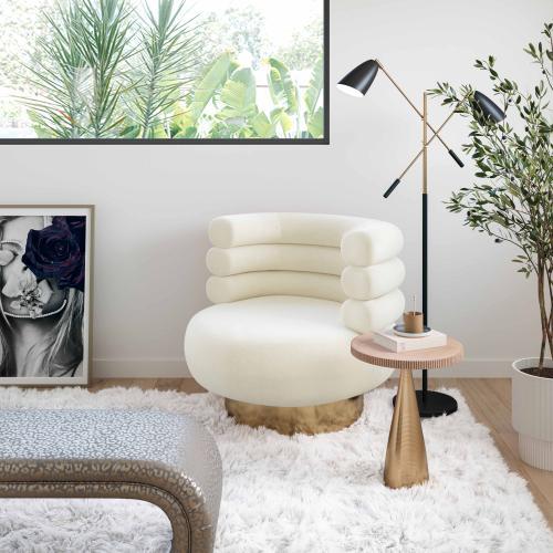 Tov Furniture - Naomi Cream Velvet Swivel Chair