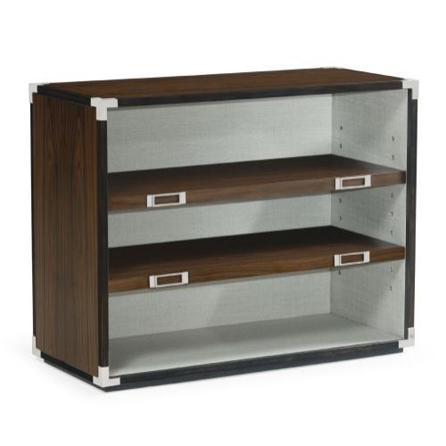Jonathan Charles - Campaign Style Dark Santos Rosewood Adjustable Storage Cabinet