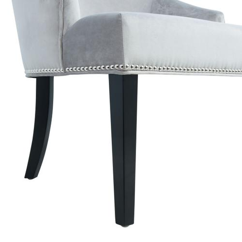 Nailhead Trimmed Upholstered Dining Chair in Silver Gray