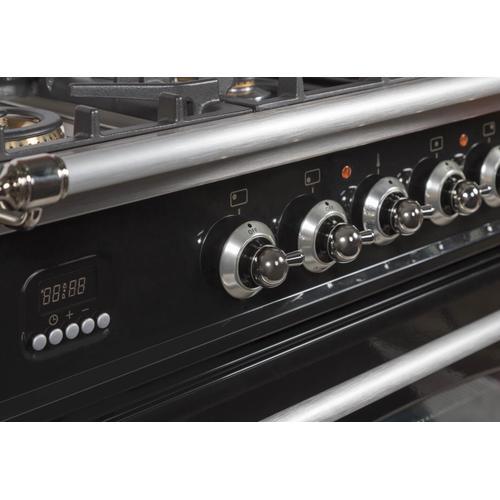 Nostalgie 36 Inch Gas Liquid Propane Freestanding Range in Glossy Black with Chrome Trim