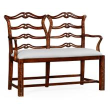 See Details - Chippendale Style Double Bench with Pierced Back